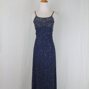 Vintage Cache Hand Beaded Navy Blue Silk Gown